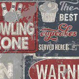 Galerie Distressed Signage Red / Blue Wallpaper - Product code: 5619