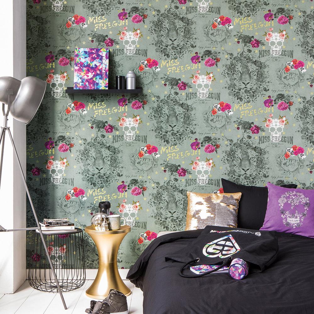 Galerie Sugar Skull Dollar Green Wallpaper - Product code: 51170604