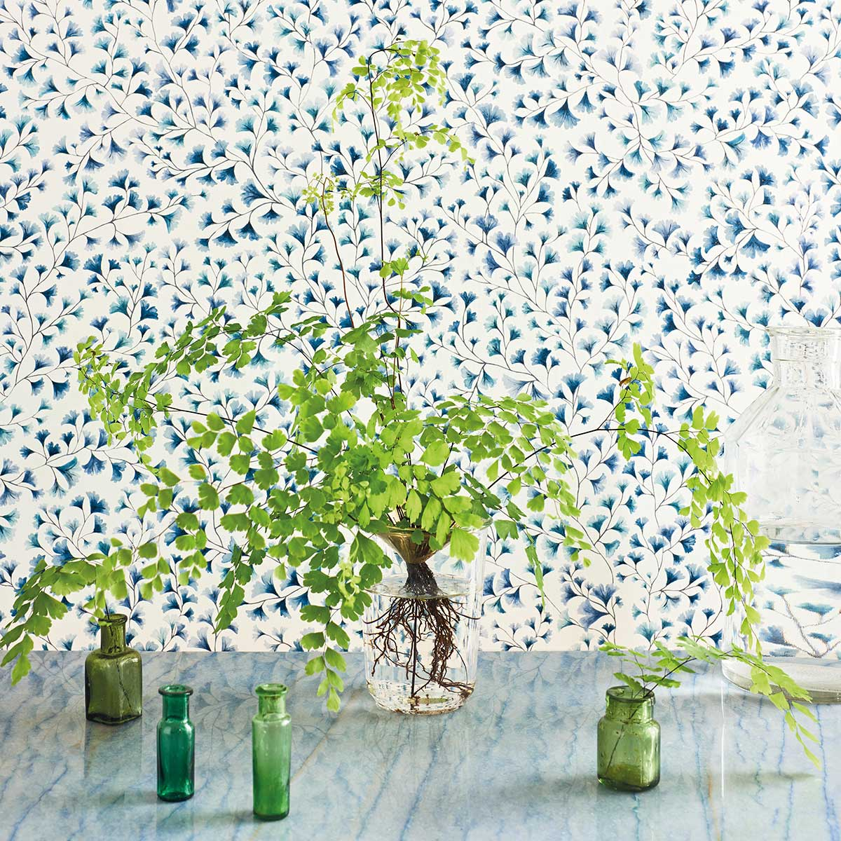 Maidenhair Wallpaper - China Blue - by Cole & Son
