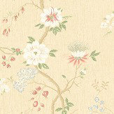 Cole & Son Camellia Coral / Sage / Buttercup Wallpaper - Product code: 115/8023