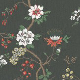 Cole & Son Camellia White / Red / Charcoal Wallpaper