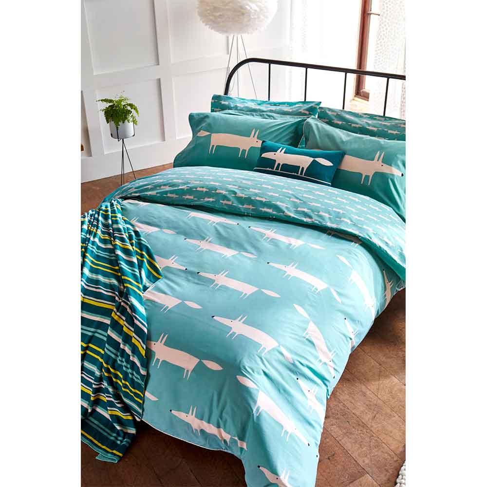 Scion Mr Fox Housewife Pillowcase Pair Teal - Product code: DA40318030