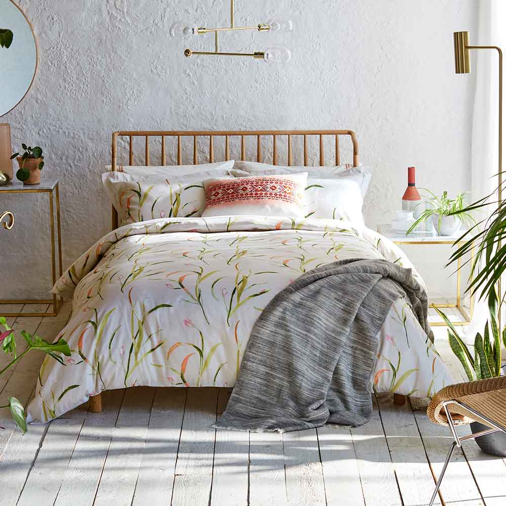 Saona Oxford Pillowcase - Green and Coral - by Harlequin