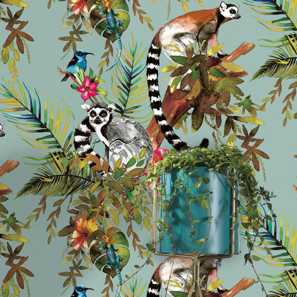 Lemur Wallpaper - Soft Teal - by Albany