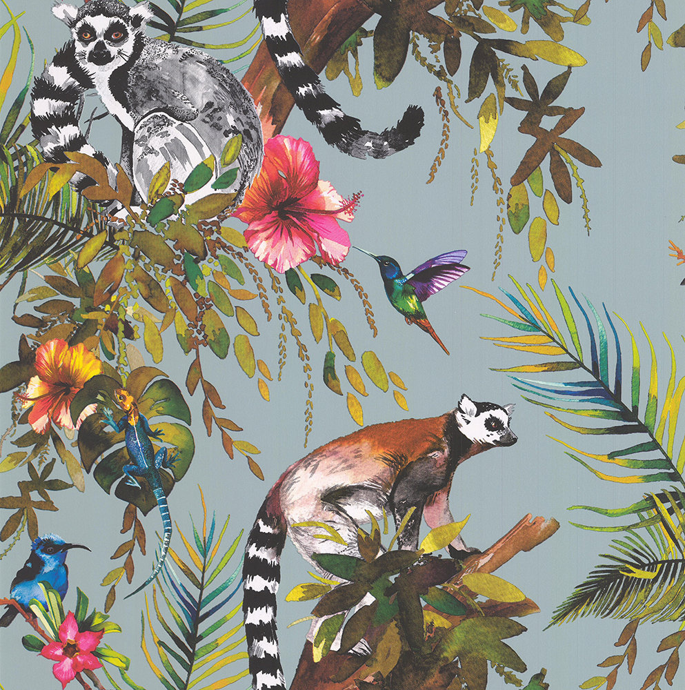 Albany Lemur Soft Teal Wallpaper - Product code: 50190
