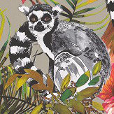 Albany Lemur Metallic Gilver Wallpaper