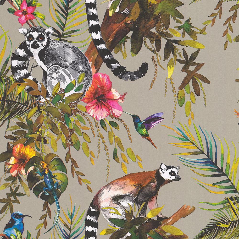 Albany Lemur Metallic Gilver Wallpaper - Product code: 50191