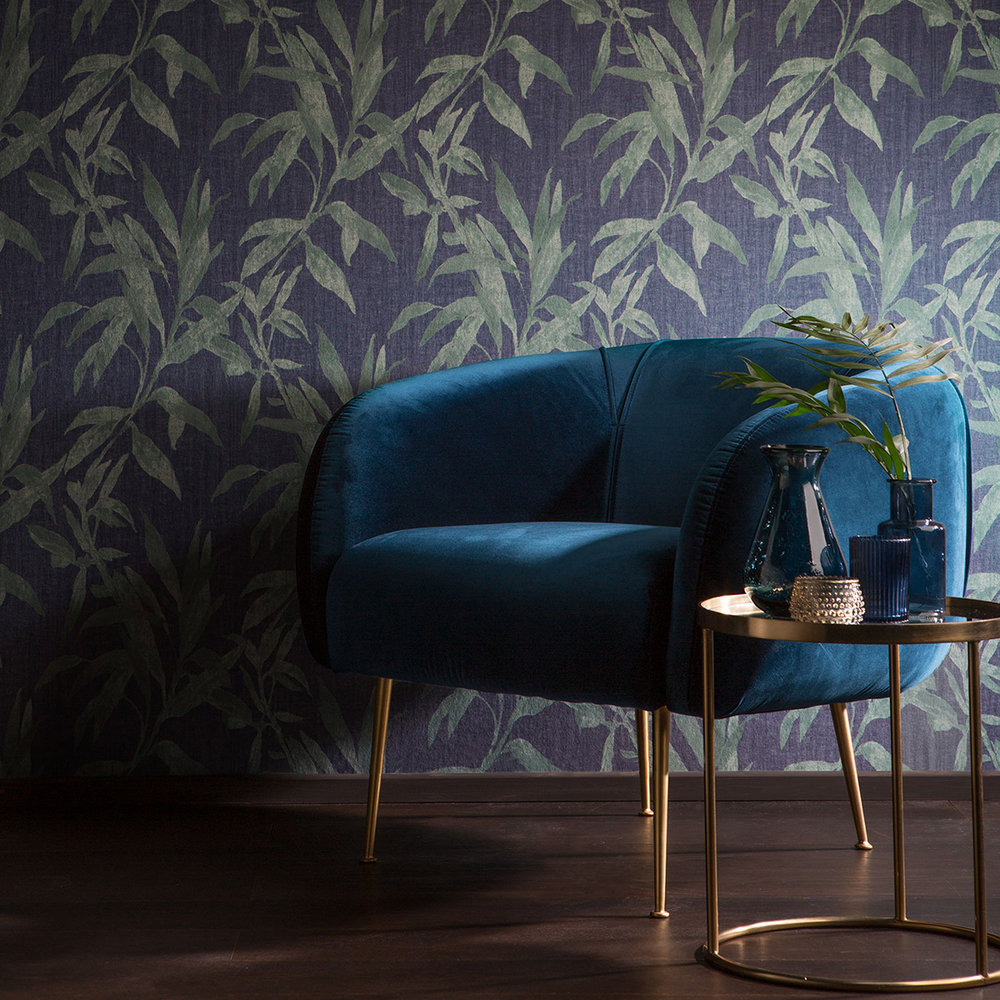 Galerie Leaves Black / Deep Green Wallpaper - Product code: TP21234