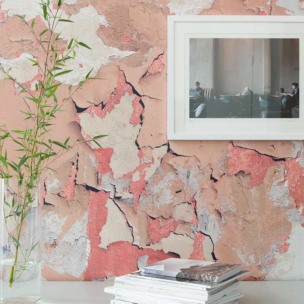 Peeling Paint Original Wallpaper - Pink - by Ella Doran