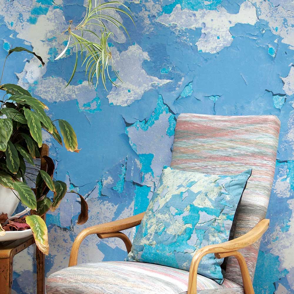Peeling Paint Blue Hue Wallpaper - by Ella Doran