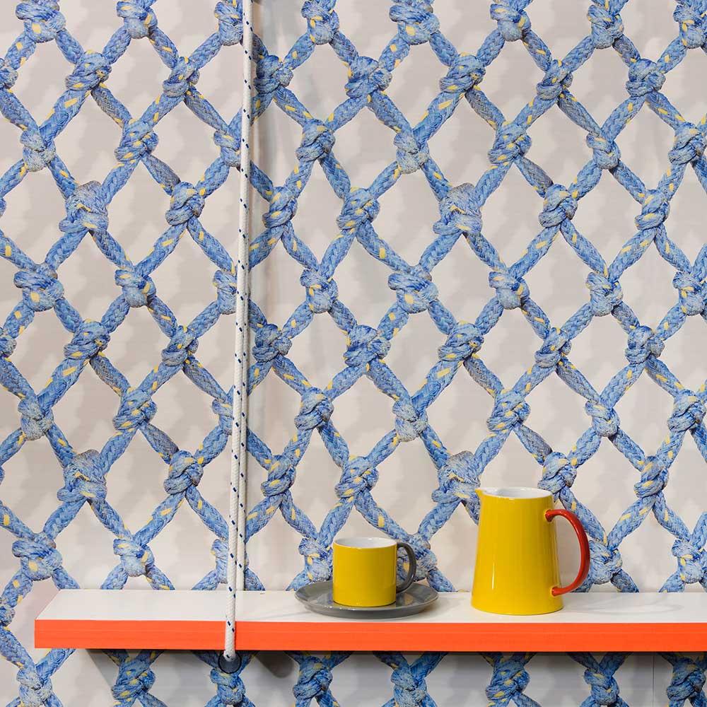 Diamond Rope Wallpaper - Blue - by Ella Doran