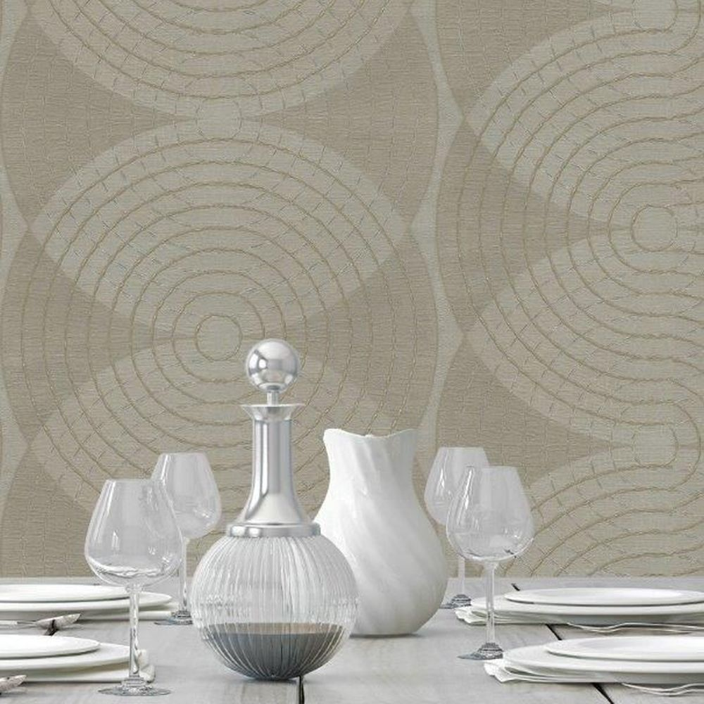 Navona Wallpaper - Beige - by Albany