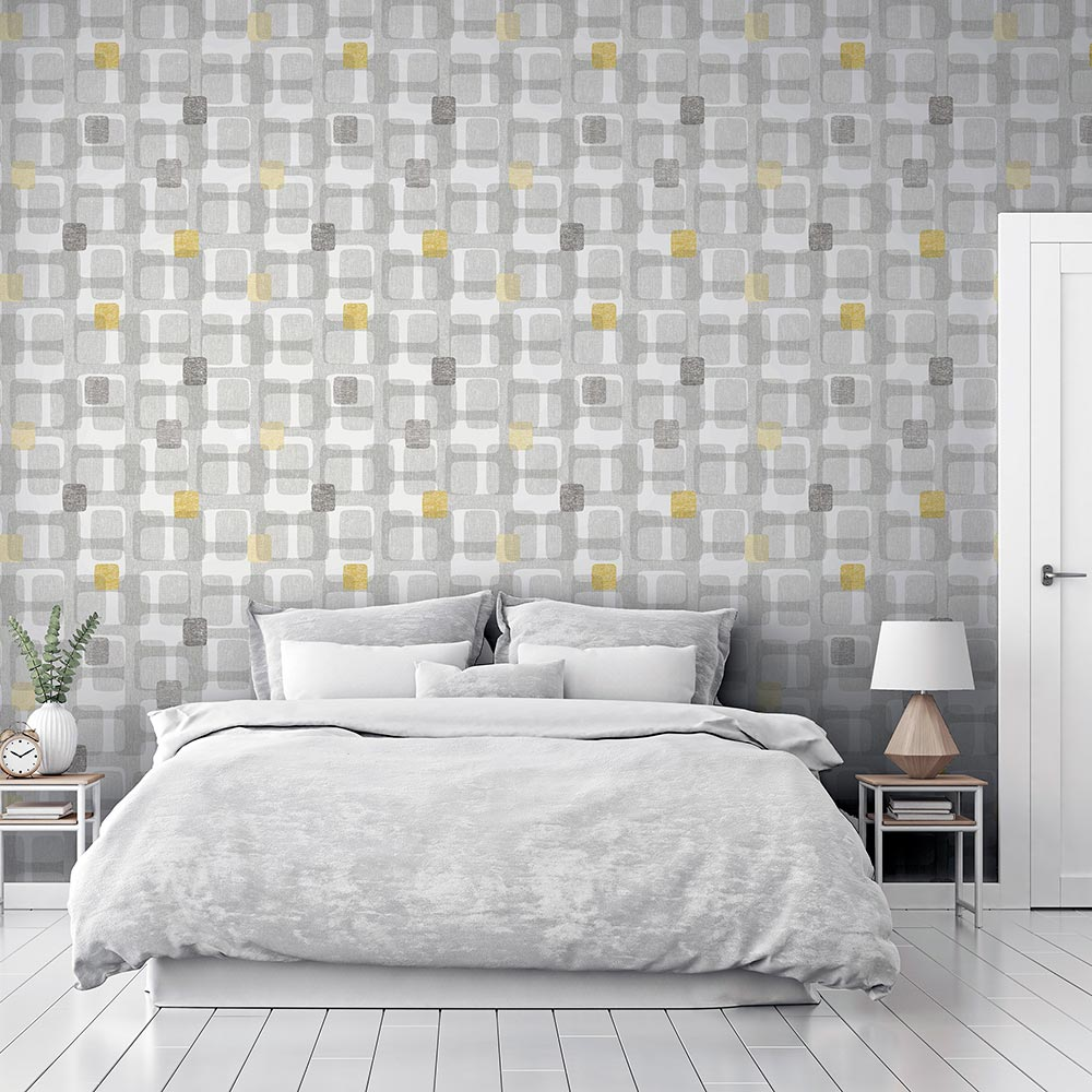 Retro Block Wallpaper - Ochre - by Arthouse