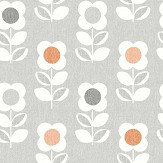 Arthouse Retro Flower Grey / Orange Wallpaper - Product code: 902304