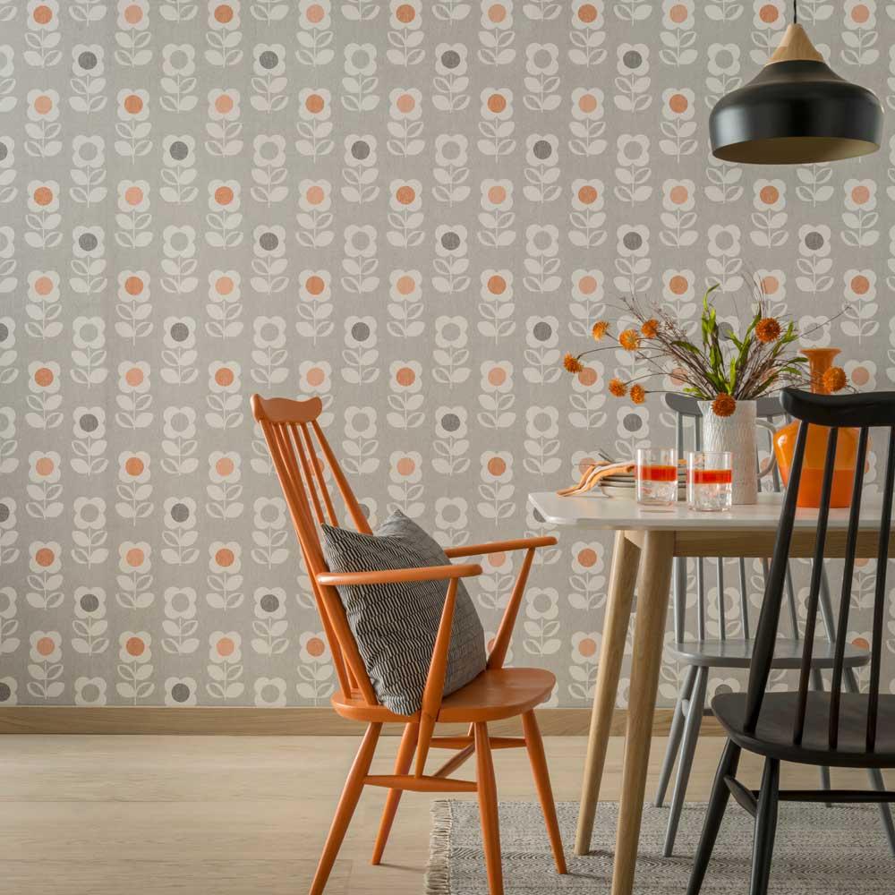 Arthouse Retro Flower Grey / Orange Wallpaper - Product code: 902304