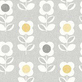Arthouse Retro Flower Grey Yellow Wallpaper