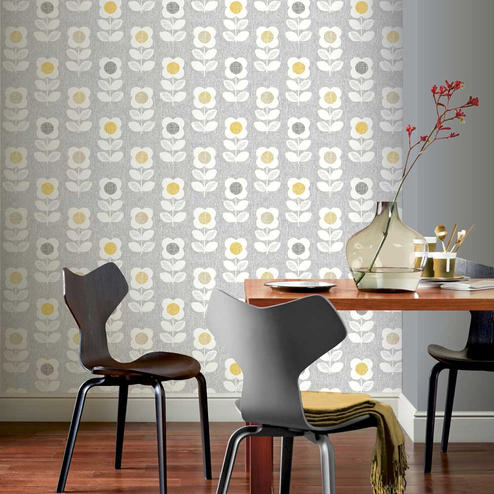 Retro Flower Wallpaper - Grey / Yellow - by Arthouse