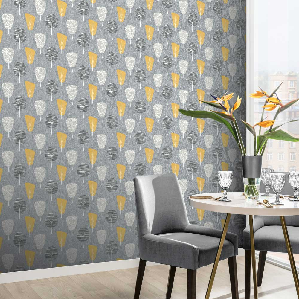 Retro Tree Wallpaper - Ochre - by Arthouse