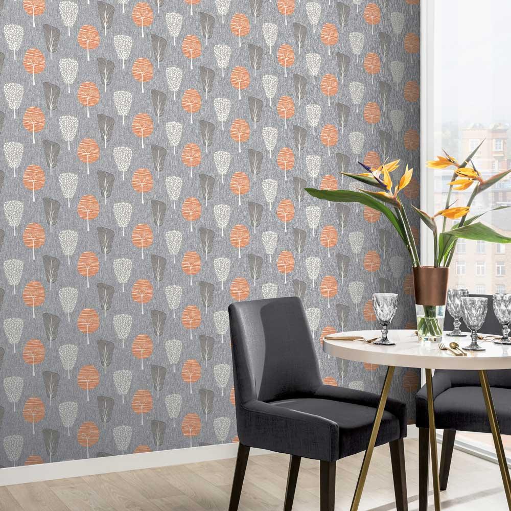Arthouse Retro Tree Orange Wallpaper - Product code: 902400