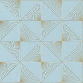 Caselio Lines Blue / Gold Wallpaper - Product code: 100136199
