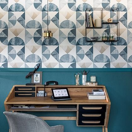 Caselio Graphic Blue Wallpaper - Product code: 100156064