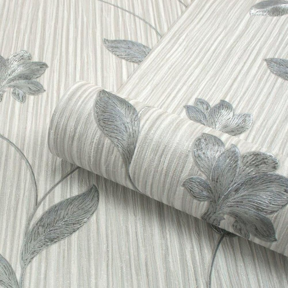 Livenza Floral Wallpaper - Grey and Charcoal - by Albany