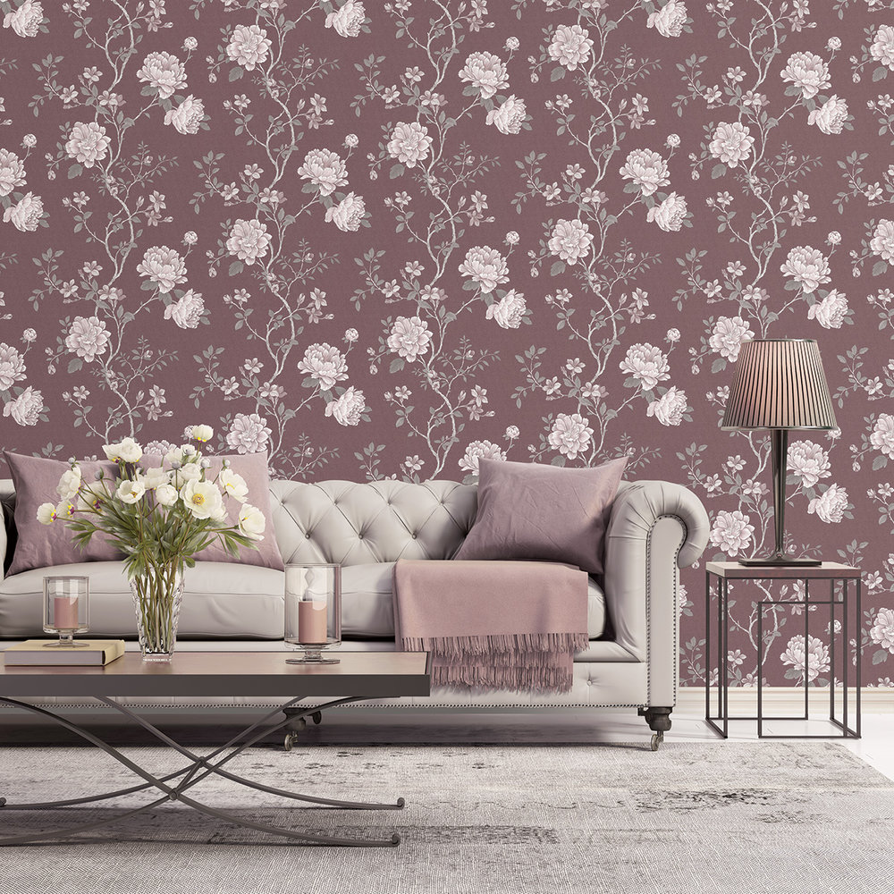 Galerie Floral Trail Dark Burnt Red Wallpaper - Product code: G45304