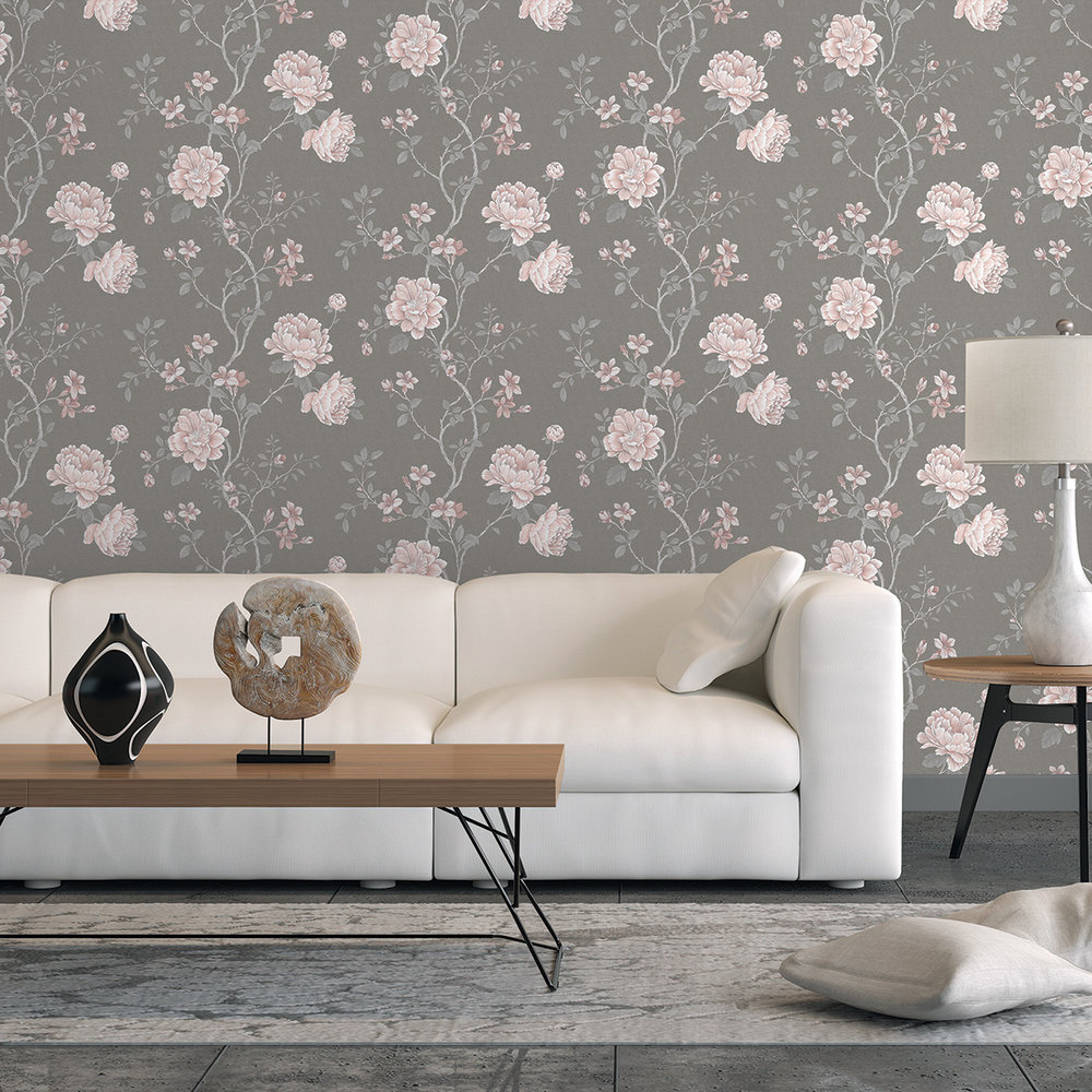Galerie Floral Trail Grey / Pink Wallpaper - Product code: G45305