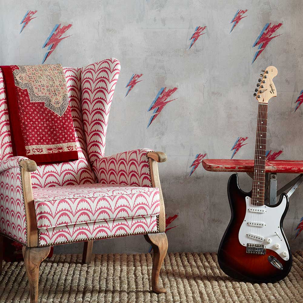 Bolt from Mars Wallpaper - Red / Natural - by Barneby Gates
