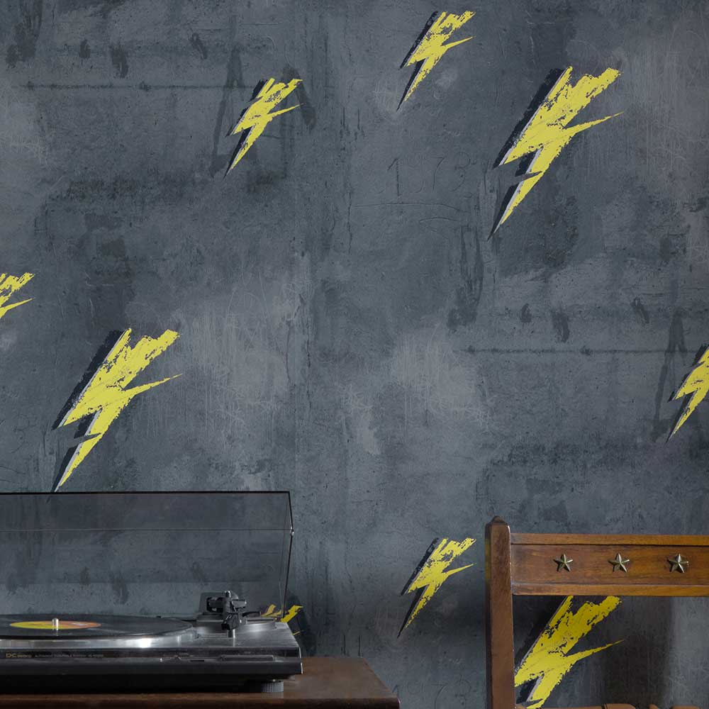 Bolt from Mars Wallpaper - Yellow / Charcoal - by Barneby Gates