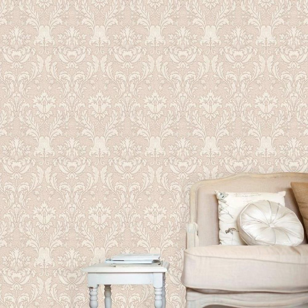 Corelli Damask Wallpaper - Blush - by Albany