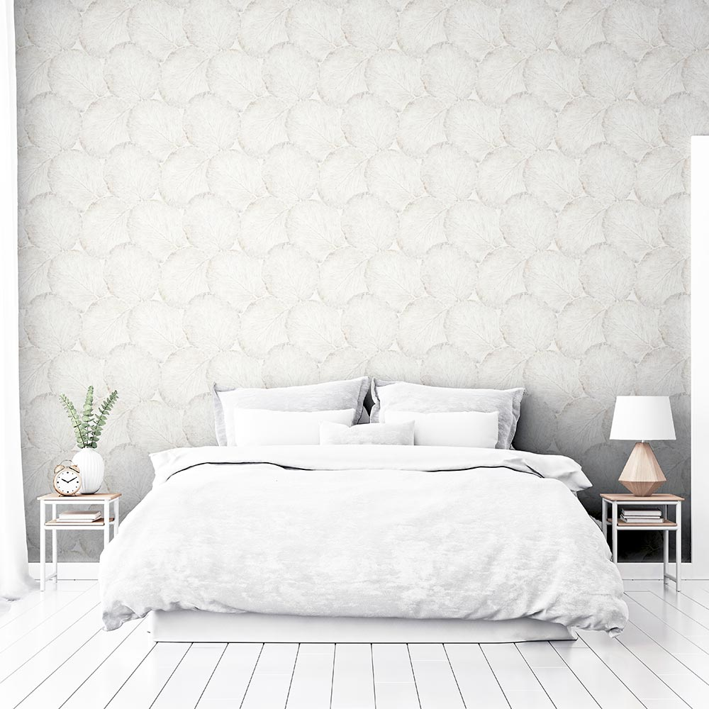 Beech Leaf Wallpaper - White - by Arthouse