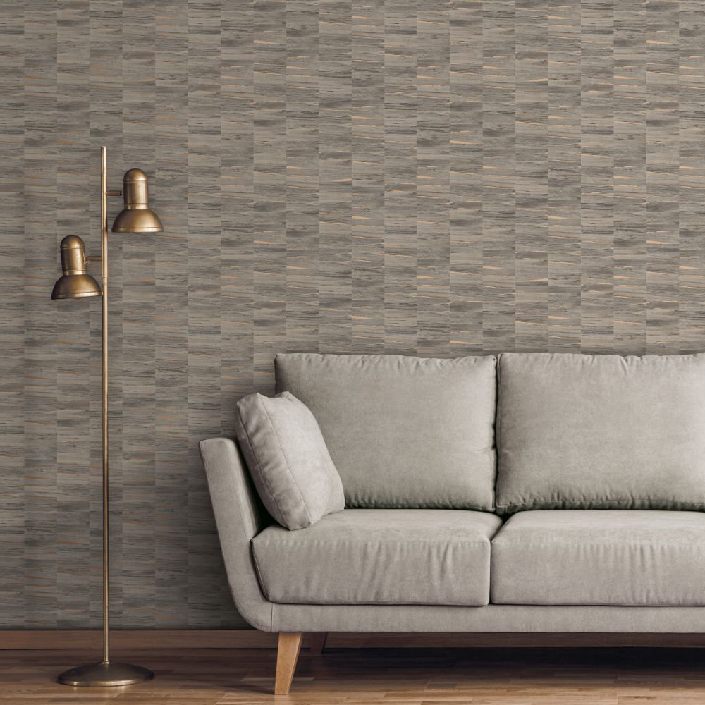 Metallic Wood Wallpaper - Natural and Copper - by Albany