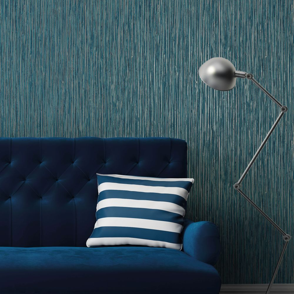 Vertical Grasscloth Effect Wallpaper - Blue and Copper - by Albany
