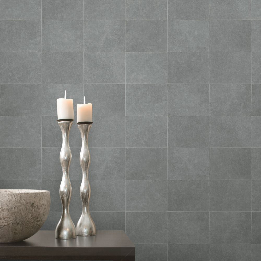 Fibrous Blocks Wallpaper - Silver - by Albany