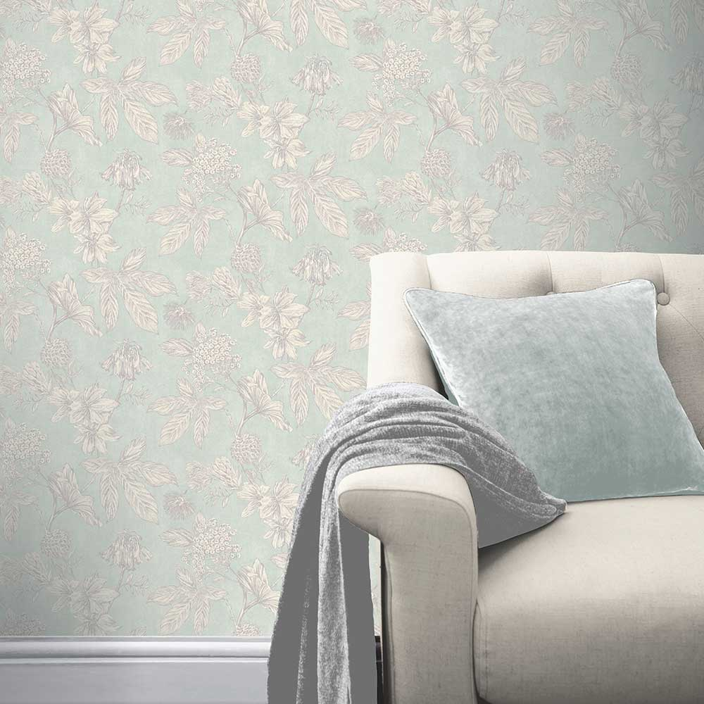 Arthouse Botanic Soft Teal Wallpaper - Product code: 902703