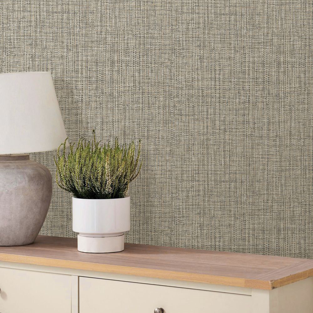 Rattan Effect Wallpaper - Dark Gold - by Albany