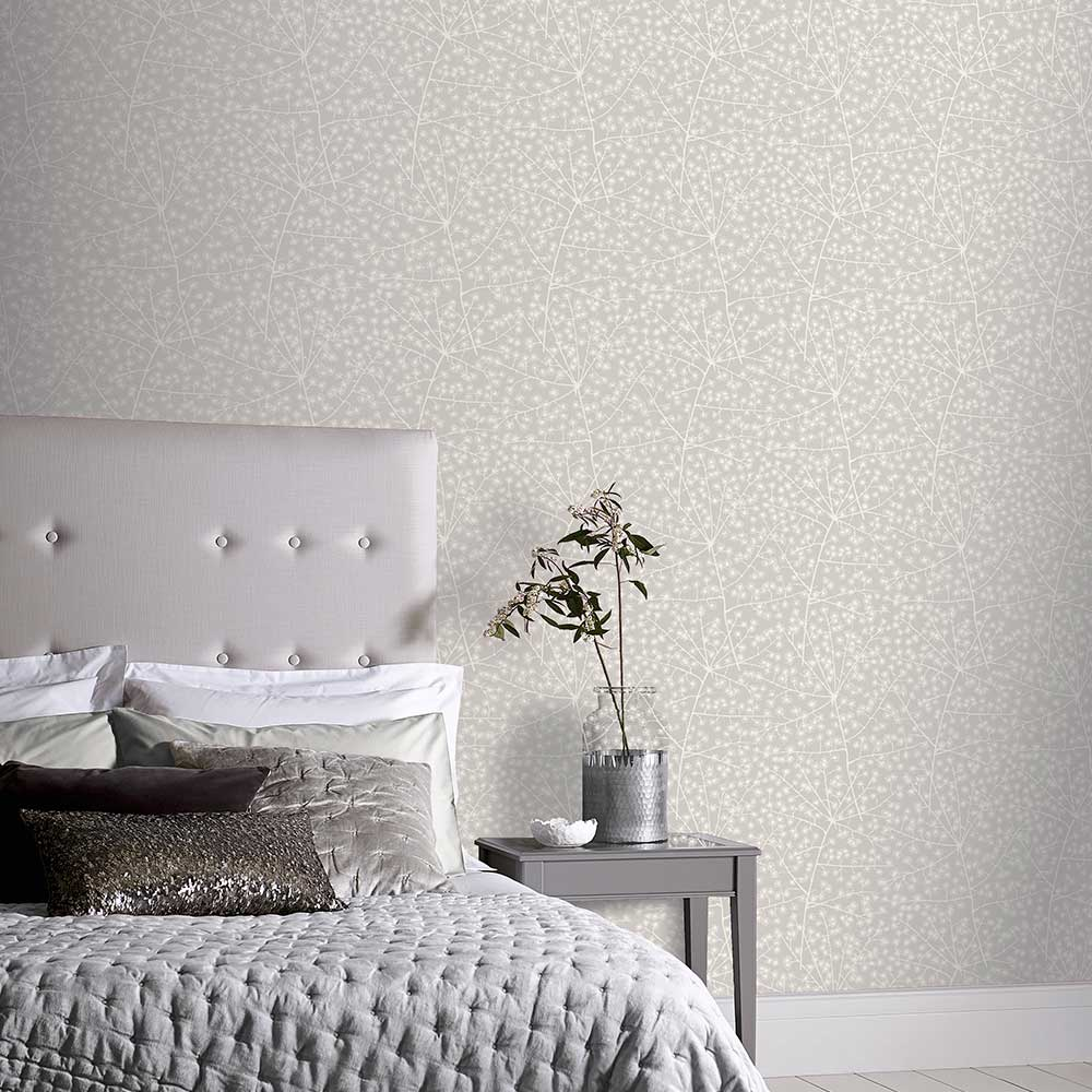 Catkin Wallpaper - White Silver - by Arthouse