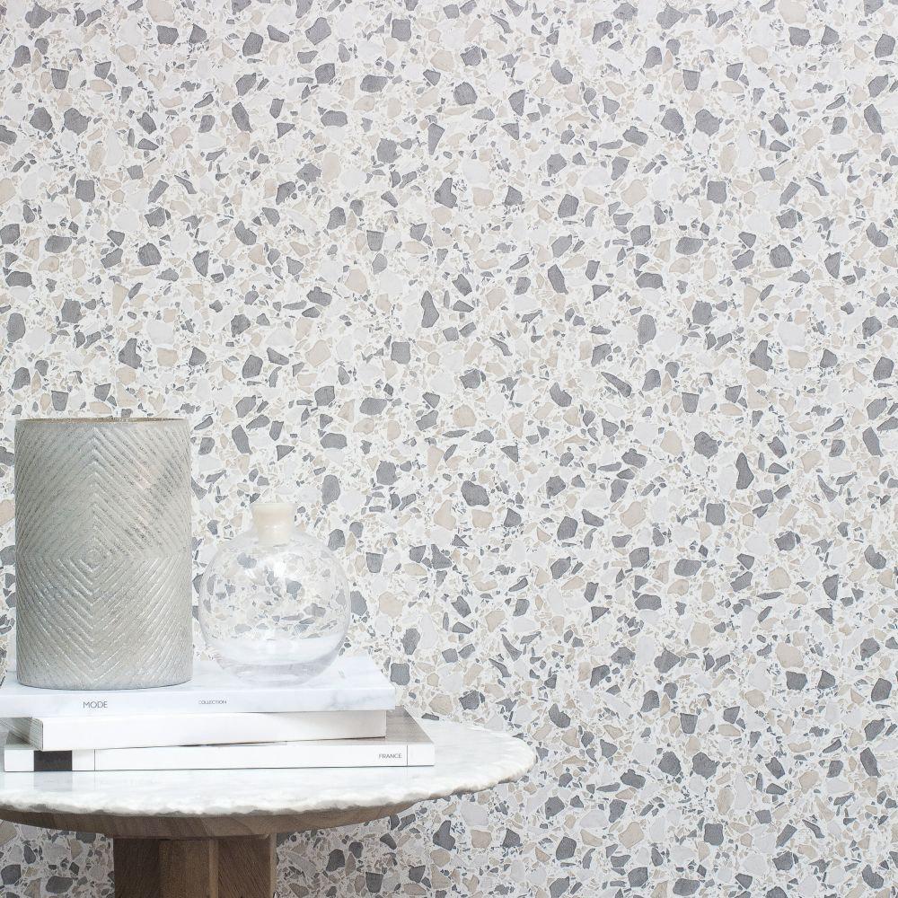 Terrazzo Wallpaper - Grey - by Albany