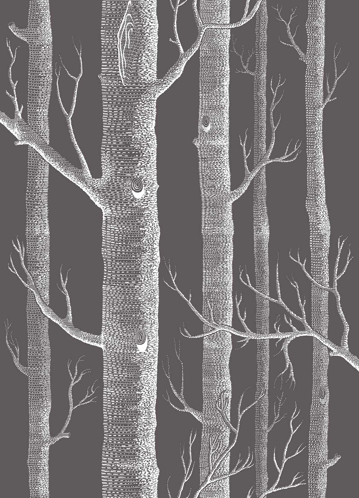 Cole & Son Woods Parchment on Charcoal Fabric - Product code: F111/7027LU