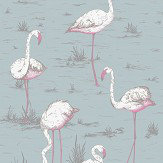 Cole & Son Flamingos Print Room Blue Fabric