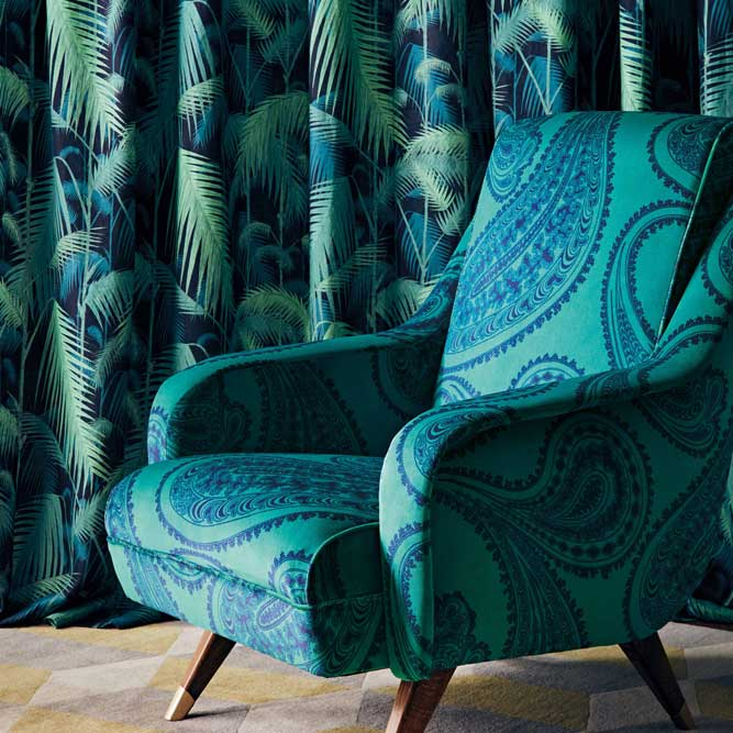 Cole & Son Palm Jungle Viridian Fabric - Product code: F111/2004LU