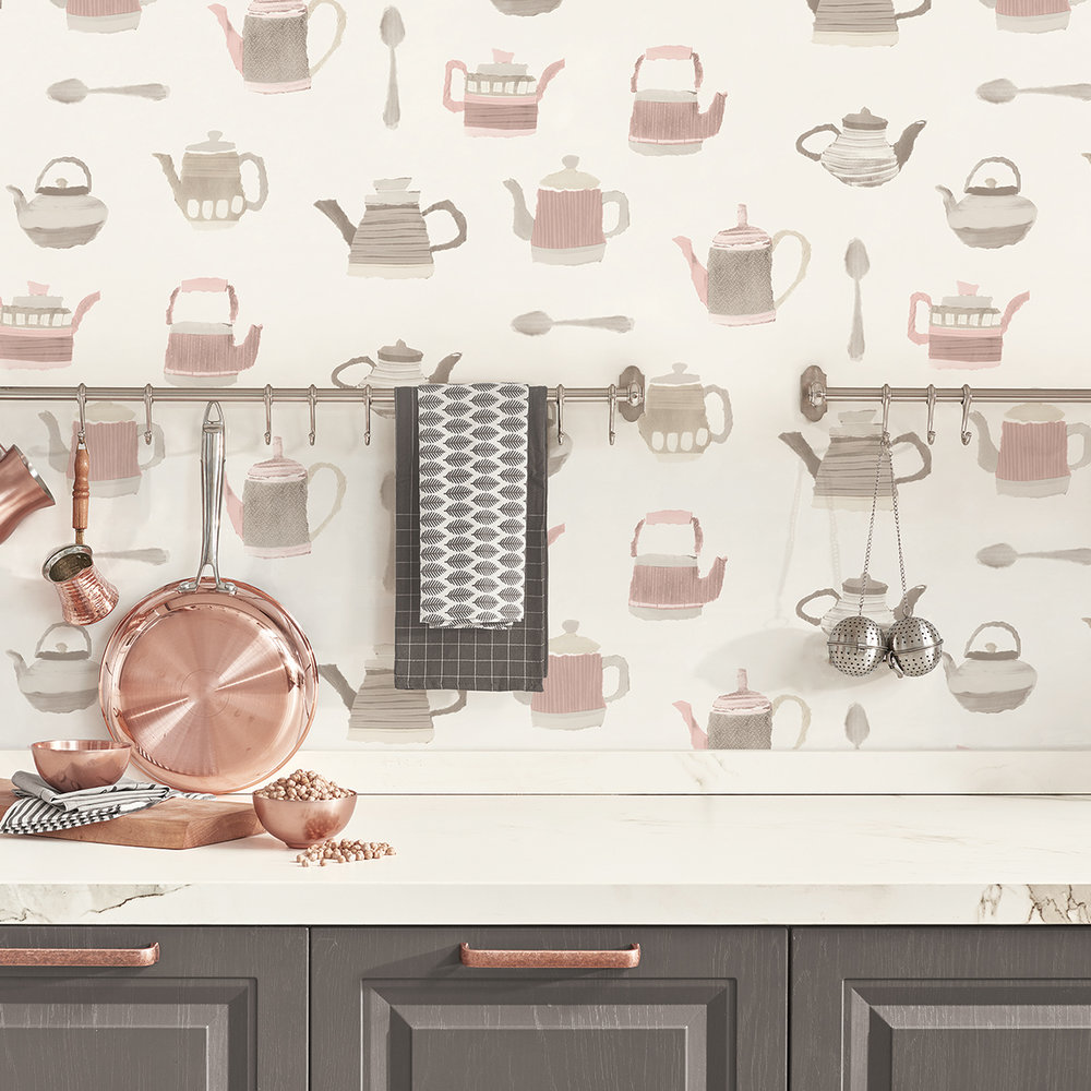 Galerie Tea Time Pink / Grey Wallpaper - Product code: CK36633