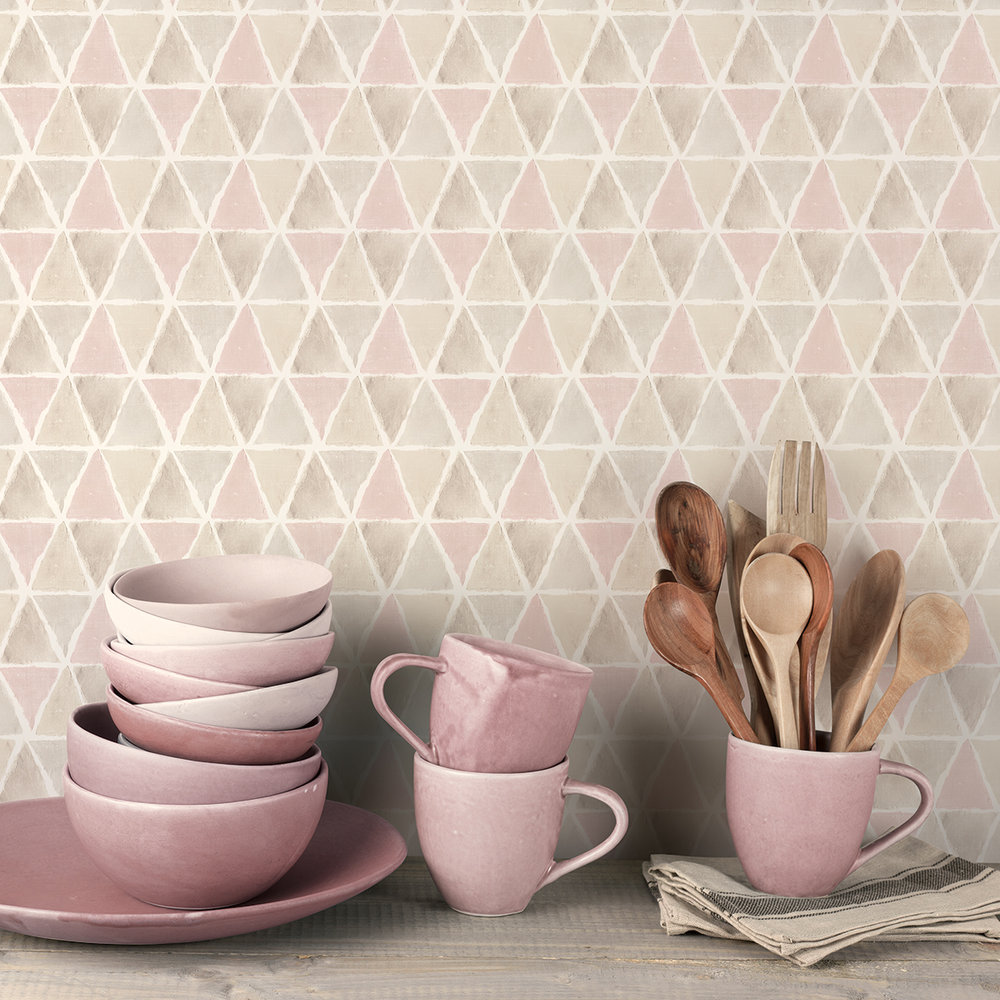Galerie Triangle Tile Pink / Brown / Grey Wallpaper extra image