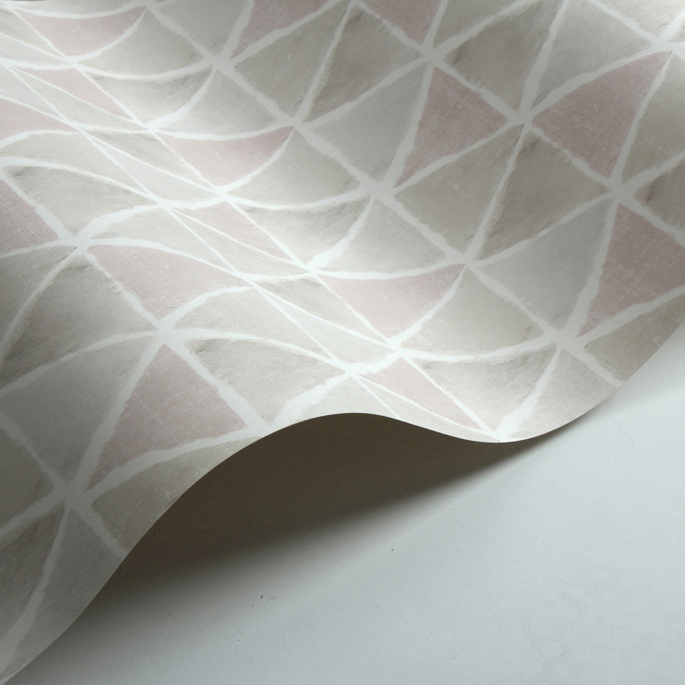 Triangle Tile Wallpaper - Pink / Brown / Grey - by Galerie