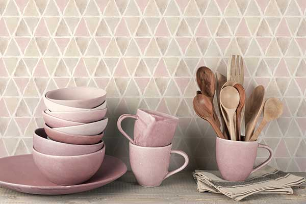 Galerie Triangle Tile Pink / Brown / Grey Wallpaper