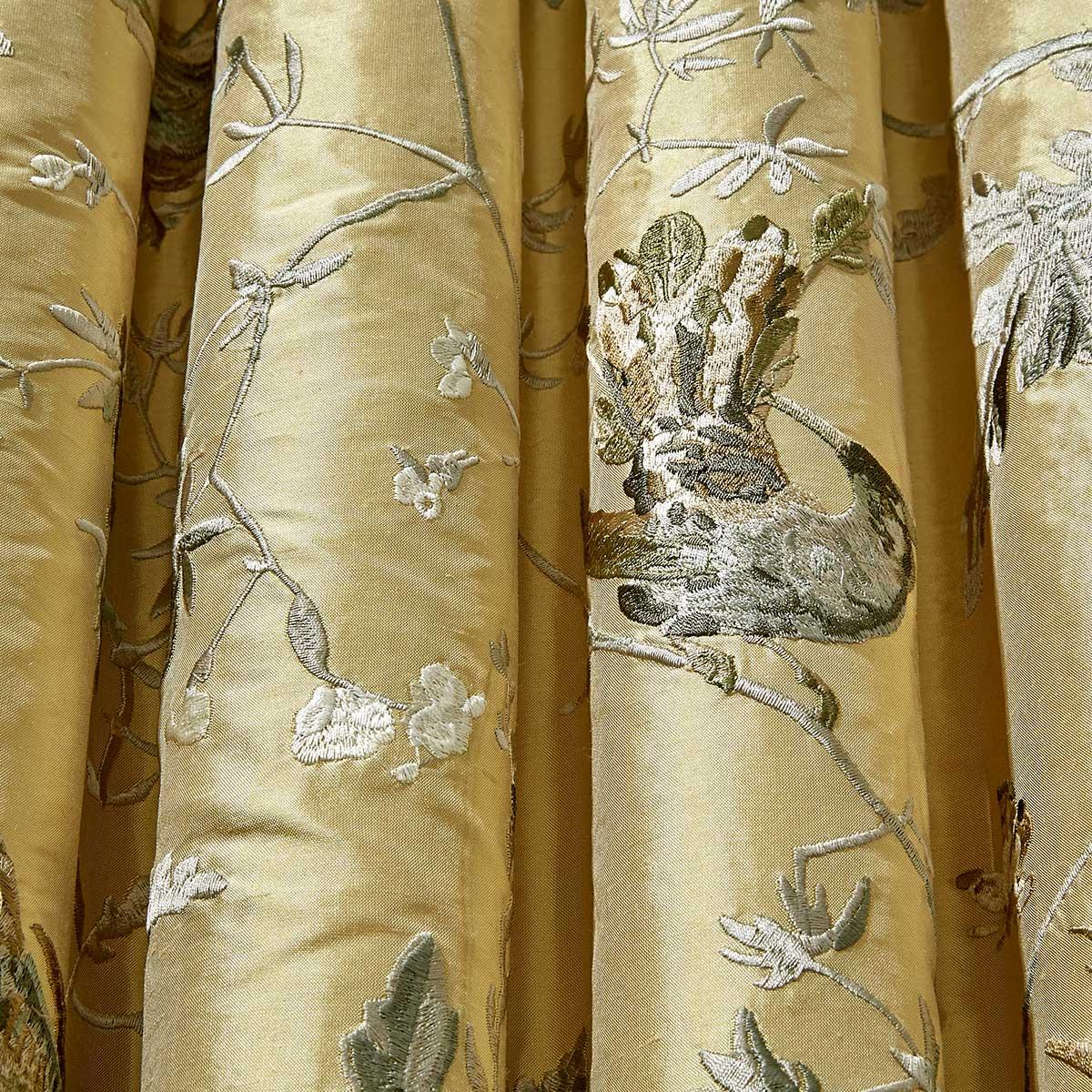 Cole & Son Hummingbirds Yellow / Grey Fabric - Product code: F111/1001