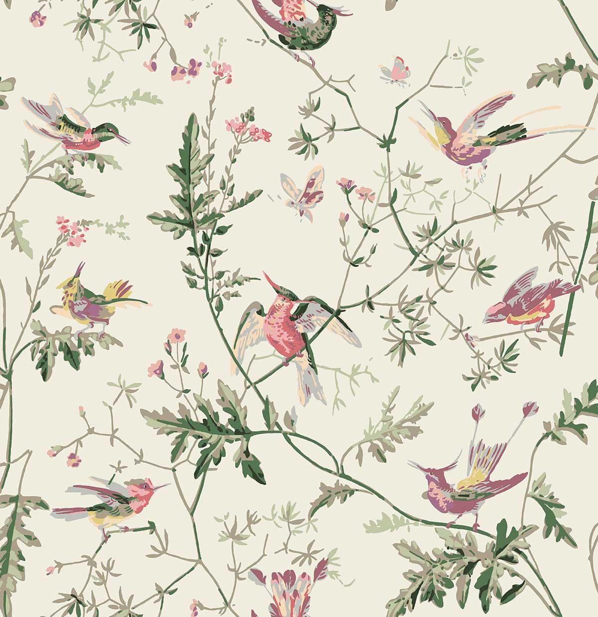 Cole & Son Hummingbirds Classic Multi Fabric - Product code: F62/1001