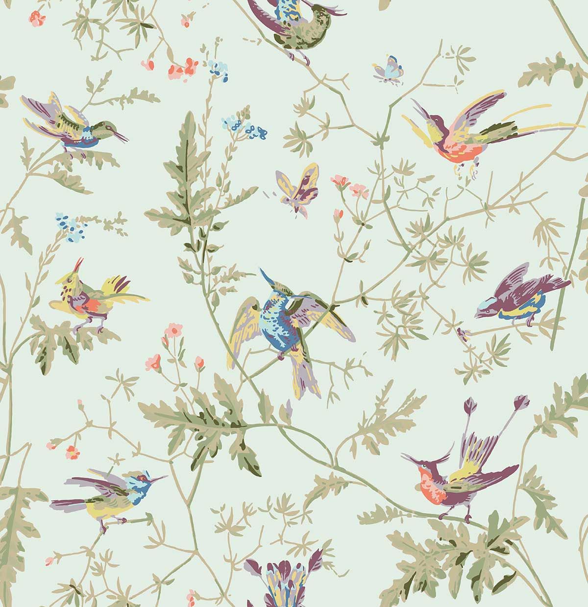 Cole & Son Hummingbirds Duck Egg Fabric - Product code: F62/1004
