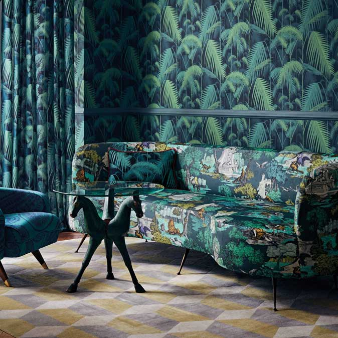 Versailles Grand Fabric - Viridian - by Cole & Son